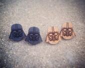 Wood or Black Darth Vader Star Wars Stud Earrings
