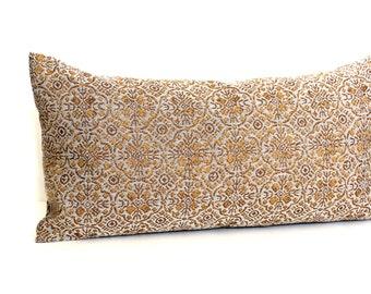 Lumbar Pillow Cover Gold Medallion Upholstery Fabric Decorative Pillow Oblong Throw Pillow Cover 12x24 12x21 12x18 12x16 10x20