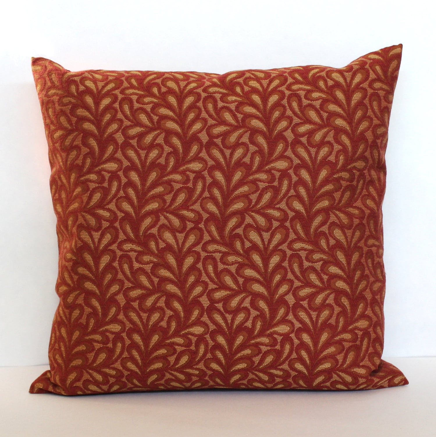 Throw Pillows Red And Gold : Throw Pillow Cover Brick Red and Gold Decorative Leaf and Vine