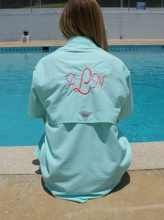 Monogramed Fishing Shirt Pfg Bathing Suit Cover Up