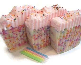 Kassidy's Konfetti Birthday Cake Soap, birthday gift, cherry frosting, cake soap