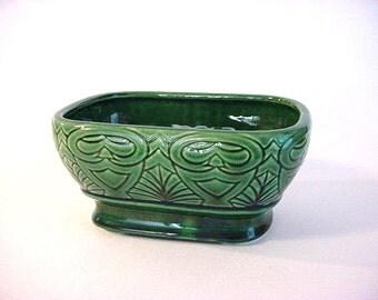 Vintage Ceramic Planter- USA , Dark Green Glaze, Tiki Pattern