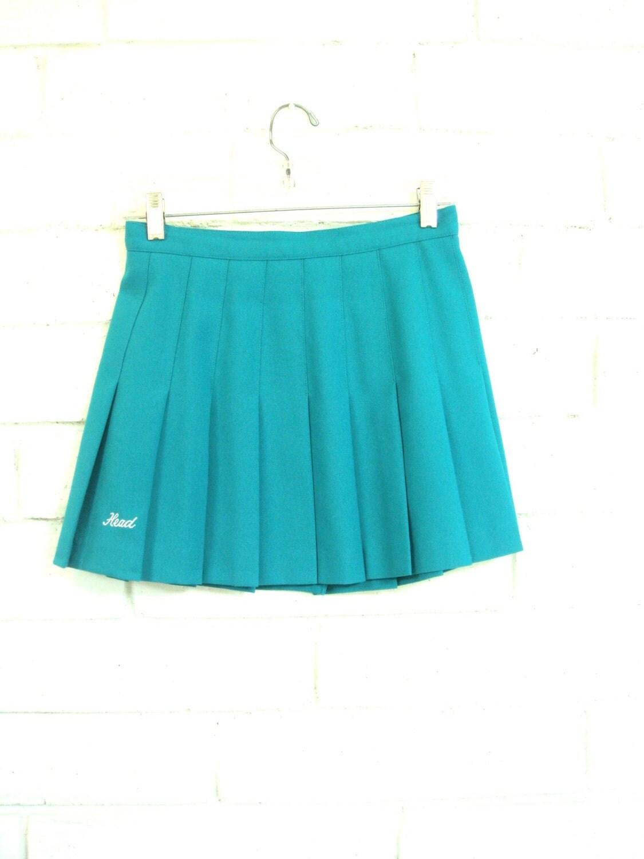 80 s pleated tennis skirt vintage turquoise mini skirt s m