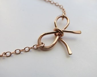 Rose Gold Bow necklace 14K Rose Gold filled Bow Necklace