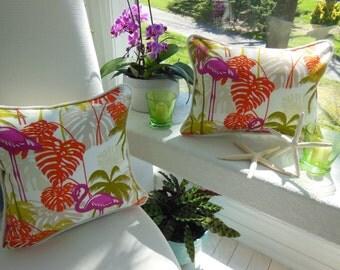 Tropical Pillow - Flamingo Pillow - Beach Designer Pillow  - Burlap Trim Decorative Pillow - Reversible 18 x 18, 15 x 15 or 12 x 16 Lumbar