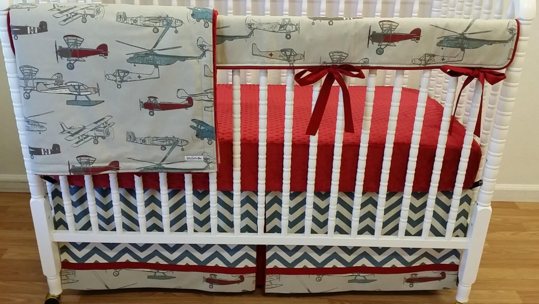 Airplane crib bedding boy baby bedding bumperless airplane - Airplane crib bedding sets ...