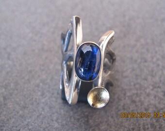 Dark Blue Tourmaline Sterling Silver Ring
