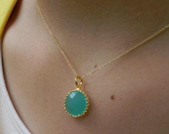 Gold Necklace - Aqua Blue Necklace - Bridesmaid Necklace - Layering Necklace - Blue Wedding - Bridesmaid Necklace - Bridesmaid Gift