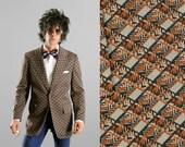mens vintage sport jacket 70s mens sport coat 1970 double knit funky diamond plaid pattern orange brown 40 40R Lucky 7