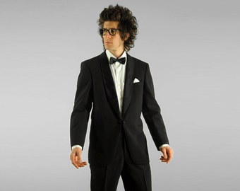 mens vintage tuxedo 60s 70s mens tuxedo 1960s 1970s shawl lapel tux link front Dreyer Germany 40R 40 36W vintage mens Lucky 7