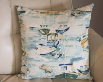 Nautical Pillow Blue Boats Indoor Outdoor Pillow Cover // Nautical Decor // Coastal Decor // Nautical Home Decor