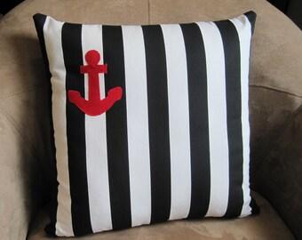 Nautical Pillow Black and White Stripe with Red Anchor Pillow Cover // Nautical Decor // Nautical Home Decor