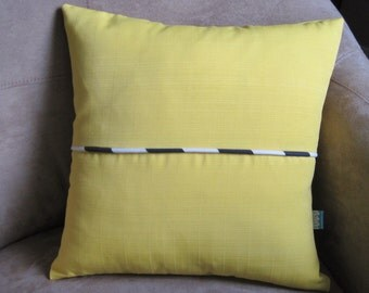 Nautical pillow Bright Yellow with Navy and White Stripe Pillow Cover // Nautical Decor // Nautical Home Decor