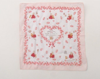 Vintage Sanrio Pink Floral Hanky Marron Cream Rabbit Teddy Bear Bunny Cotton Hankie Kawaii Handkerchief Red White Polka Dress Floral Heart