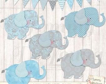 Elephant Clip Art, Blue and Gray Elephant clipart, Digital Nursery art, baby boy decor, scrapbooks invitations announcements boy baby shower