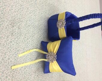 Royal Blue Horizon Satin with Yellow Flower girl basket and pillow