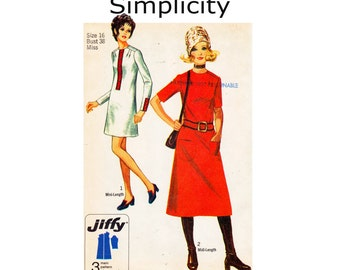 Simple to Sew Mod Dress 1970s Jiffy Vintage UNCUT Sewing Pattern Size 16 Bust 38 Easy Cut Easy Sew Midi Mini Length Dress Simplicity 8958