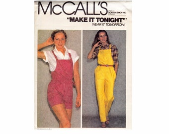 1980s Overalls Misses Romper Medium Size 14-16 1980s UNCUT Sewing Pattern Shortalls Make it tonight McCalls 6994