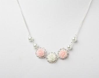 Flower girl necklace, dainty girl necklace, pink flower girl, pink wedding jewelry, girl birthday gift, junior bridesmaid gift