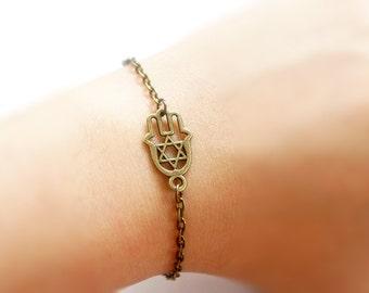 Hamsa Hand of Fatima Bracelet - Antiqued Brass Vintage Style Bracelet - C0015