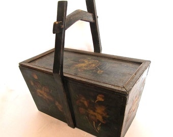 Antique Chinese Hand Painted Wood Container Box with Lid, Pagoda Style Handle