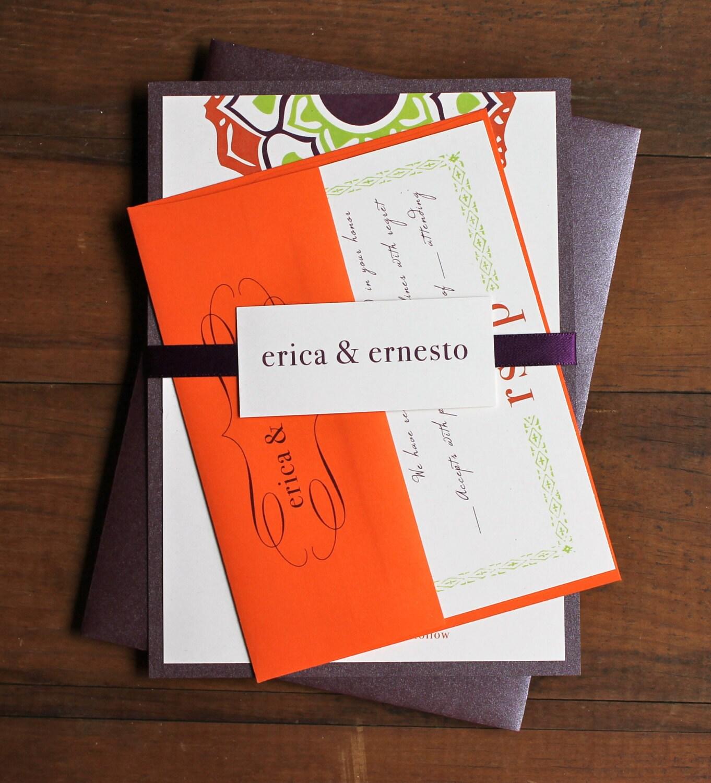 Fine Orange And Green Wedding Invitations Elaboration - Invitation ...