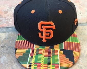 San Francisco Giants SF MLB Snapback Hat Fitted Cap Crown w/ African Fabric Ankara African Wax Fabric
