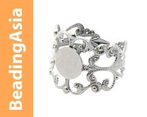 6pcs Bright Silver Ring Base 18mm Adjustable 8mm Flat Circle Gothic Design (517-025)