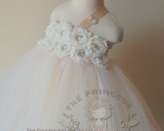 Ivory and champagne flower girl dress, ivory and champagne tutu dress, champagne girls dress, ivory girls dress, flower girl dress vintage