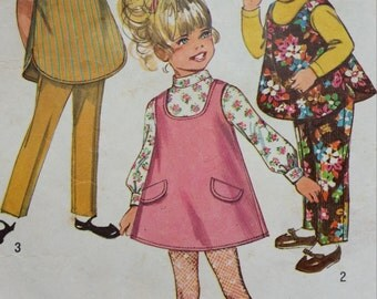 1969 Simplicity 8303, Jumper, Sleeveless Top and Pants, Sewing Pattern Girl's Size 3
