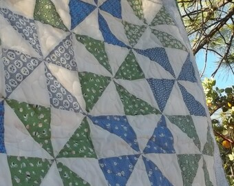 Baby Pin Wheel Quilt in Blue and Green 30s Reproduction Cotton Fabric