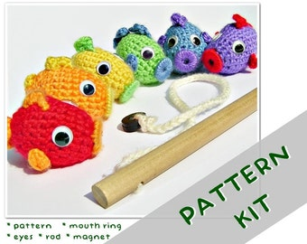Fishing Set PATTERN KIT - Crochet Magnetic Fish Toy Pattern & Materials