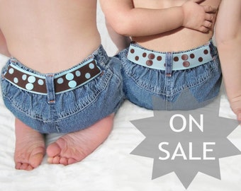 Reversible Toddler Belt - Aqua and Brown