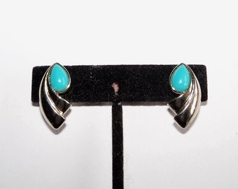 Vintage Earrings Faux Turquoise Silver Tone Clip On Southwestern Style Gift for Her