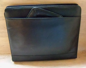 Retro Vintage Briefcase Portfolio Black Leather Gift for Him or Her Birthday Christmas