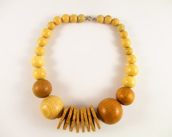 Boho Style Wood Ball and Cork Disc Choker - One of a Kind - Nice Sized - Simple Yet Interesting - Neutral Colors