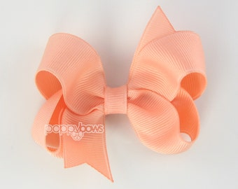Peach Hairbow - 3 Inch Boutique Hair Bow - Baby Toddler Girl - Solid Color Hairbow Alligator Non Slip
