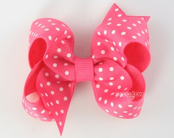 Hot Pink and White Polka Dot Hair Bow - 3 Inch - Hair Clips for Girls Alligator Clip Babies Toddler - Small Tiny Dots