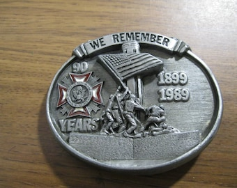 We Remember Belt Buckle VFW Veterans of Foreign Wars 90 Year Anniversary Siskiyou Buckle Co. Free US Shipping