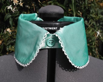 detachable collar in mint / seafoam taffeta with cream lace edge separate collar detached collar UK seller
