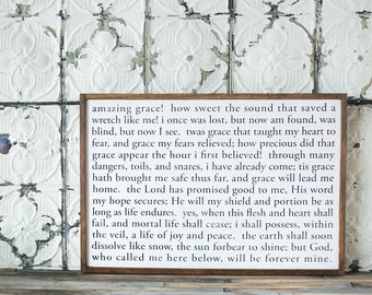 White Wooden Sign-hand constructed- Amazing Grace