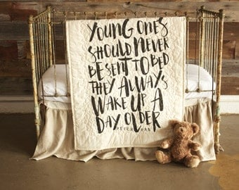 Peter Pan inspired baby bedding - baby/toddler quilt, With optional 100% linen ruffle crib skirt - young ones should never be sent to bed