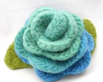 Felted Wool Rose Flower Brooch in Shades Turquoise with Green Leaves