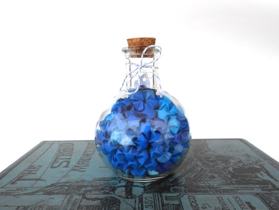 Blue Origami Star Potion in a Bottle