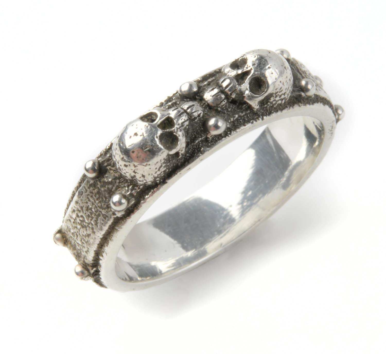 silver skull ring custom s or mens solid sterling