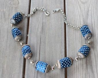 Original Fabric Necklace, Polka Dots Fabric Necklace, Fabric Handmade Necklace, Handmade Necklace, Polka Dots Necklace, Textile Necklace