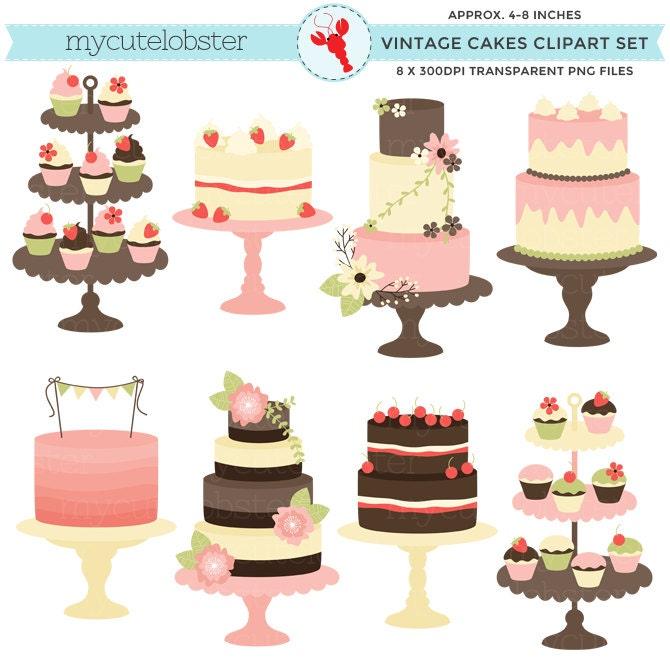 Classic Vintage Cakes Clipart Set clip art rustic cake