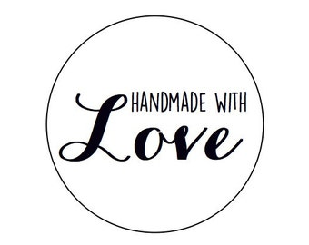 60 Handmade with love - Kraft or White round labels/seals - 1""