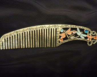 Vintage Gold ENAMEL and RHINESTONE COMB