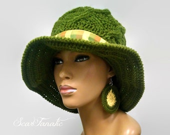 MADE TO ORDER Hand Knit and Crochet cabled Olive Green Sun hat with shapeable brim and cables/ free green and yellow crochet earrings